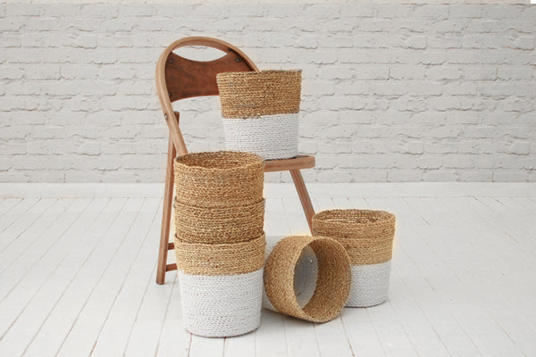 Handmade seagrass & recycled plastic wastepaper basket / White & natural