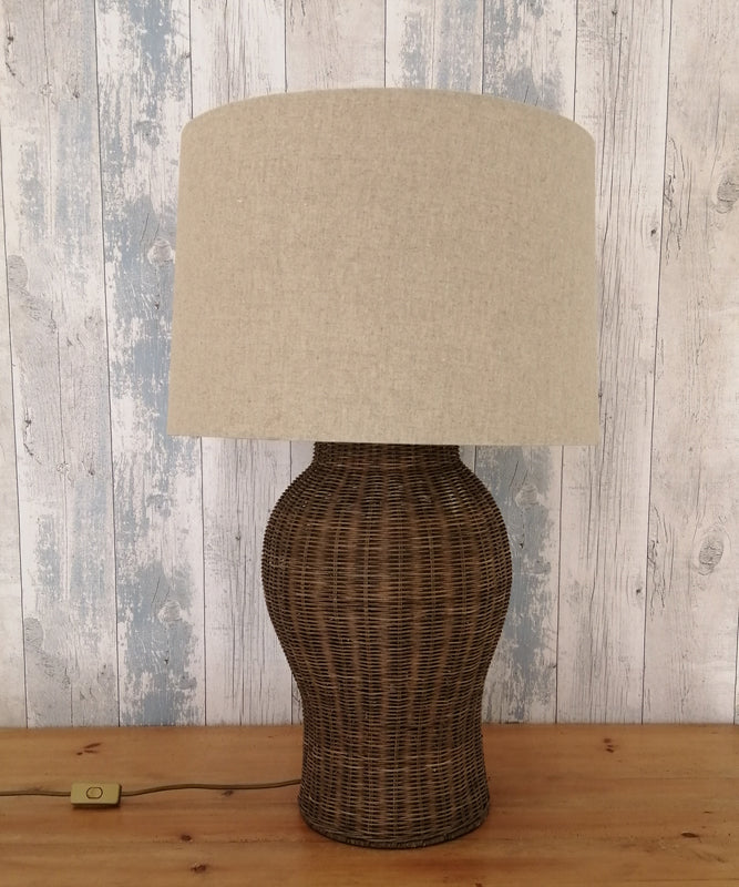 Large Rattan Urn Lamp with shade