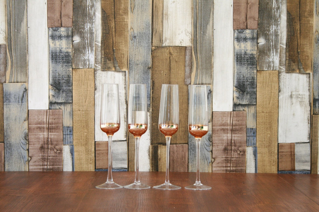 4 Copper Champagne Glasses