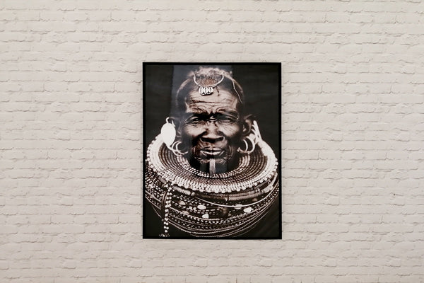 Large tribal photographic print mounted on board
