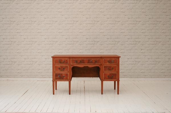 A  mahogany & flame walnut desk or dressing table