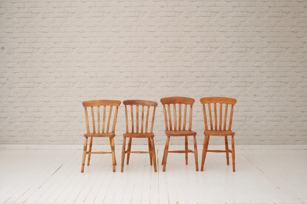 Four Victorian elm country lath-back kitchen chairs