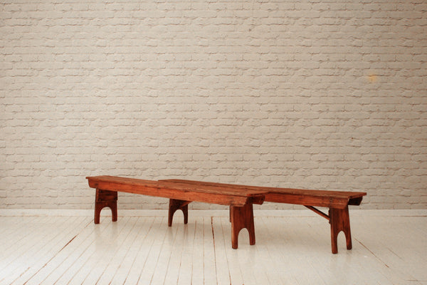 Two vintage English Pine benches