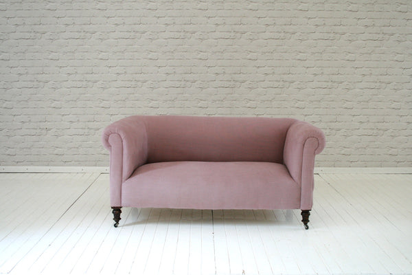 A Victorian roll top chesterfield in dusty pink Volga linen/sofa