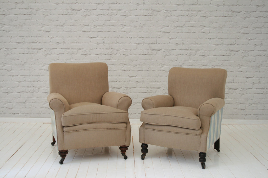 A pair of Victorian armchairs in biscuit cotton & stripes