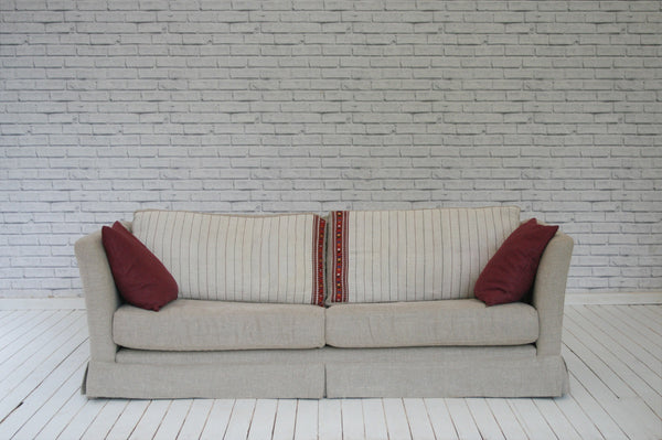 A 1970s Danish sofa in Lithuanian linen & Hungarian sack cloth