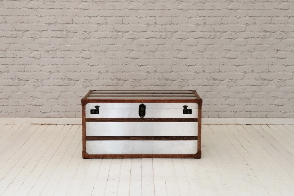 Metal trunk with wooden slats