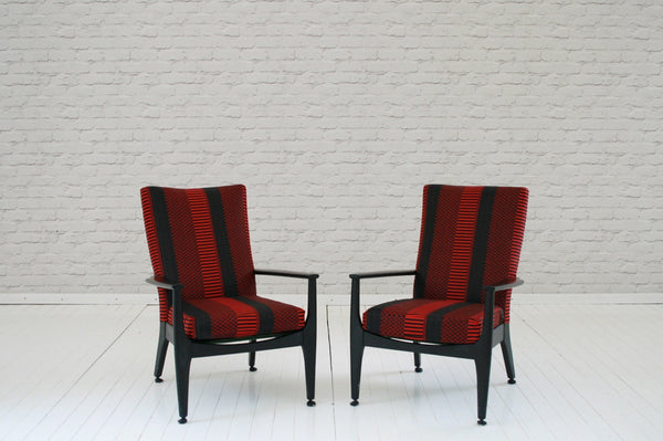 A stunning pair of 1960s armchairs in Rwandan wax cloth