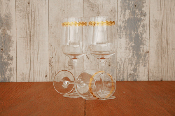 Gold Leaf White Red Wine Glass