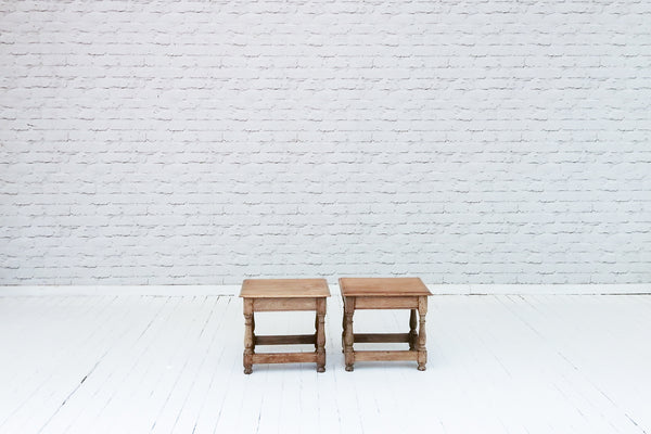 A pair of English oak stools or side tables