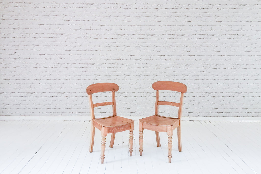 A pair of Victorian Elm bar back kitchen chairs