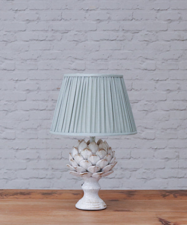Artur table lamp in a stone crackle glaze with gathered empire shade in smog stone washed linen