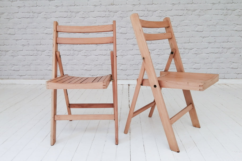 Vintage beech folding chairs