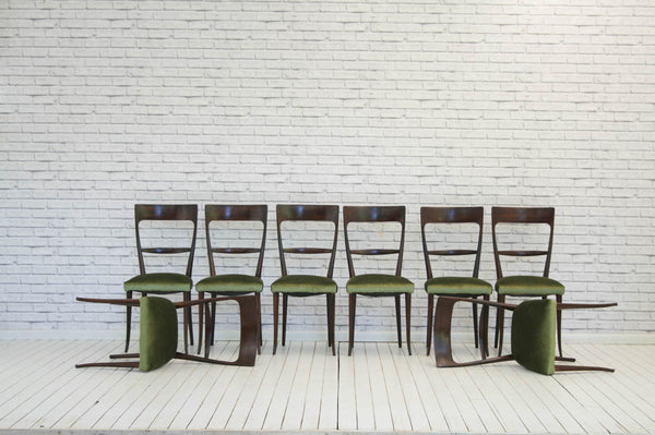 An exquisite set of 8 Guglielmo Ulrich Style Mid-Century Modern Italian Dining Chairs