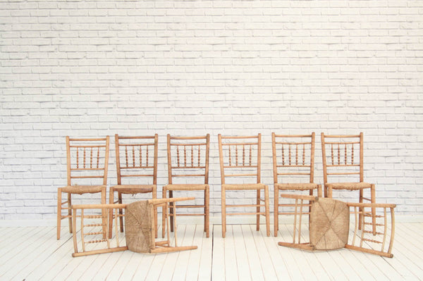 A set of eight 19th Century spindle back country dining chairs