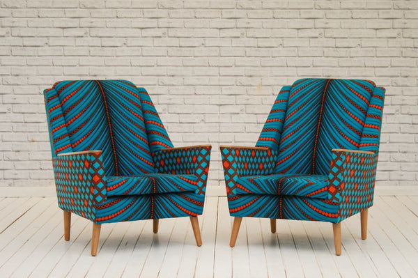 A pair of 1950s retro armchairs in Rwandan Kitenge