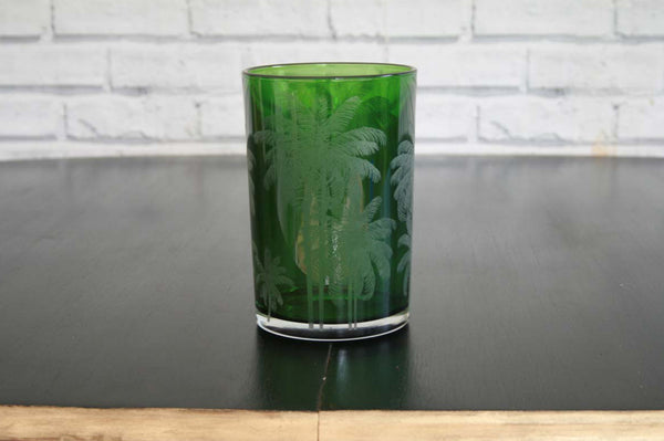 Large Green Palm T-Light Holder