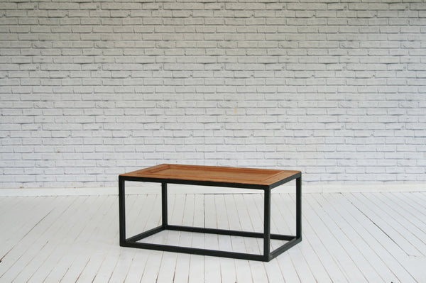 Vintage pine panelled door coffee table