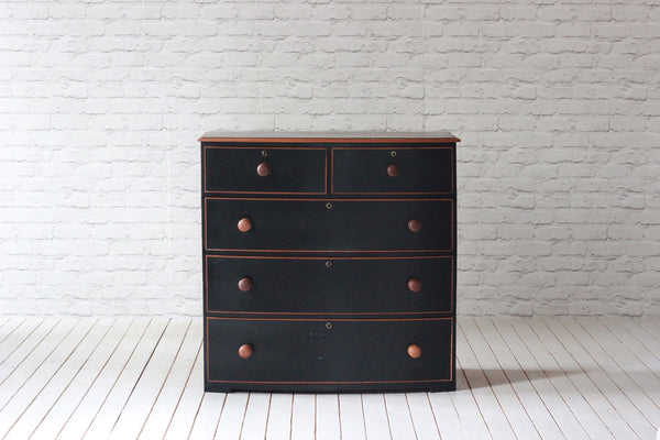 Victorian mahogany bow fronted 2 over 3  chest of drawers