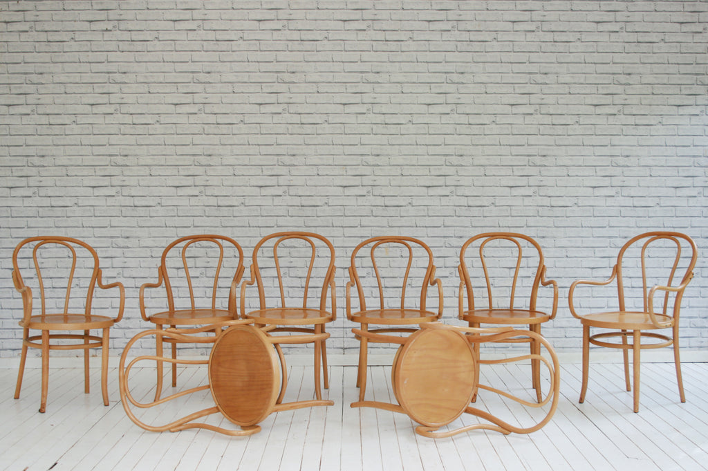 A set of eight vintage Bentwoood  elbow chairs / dining chairs