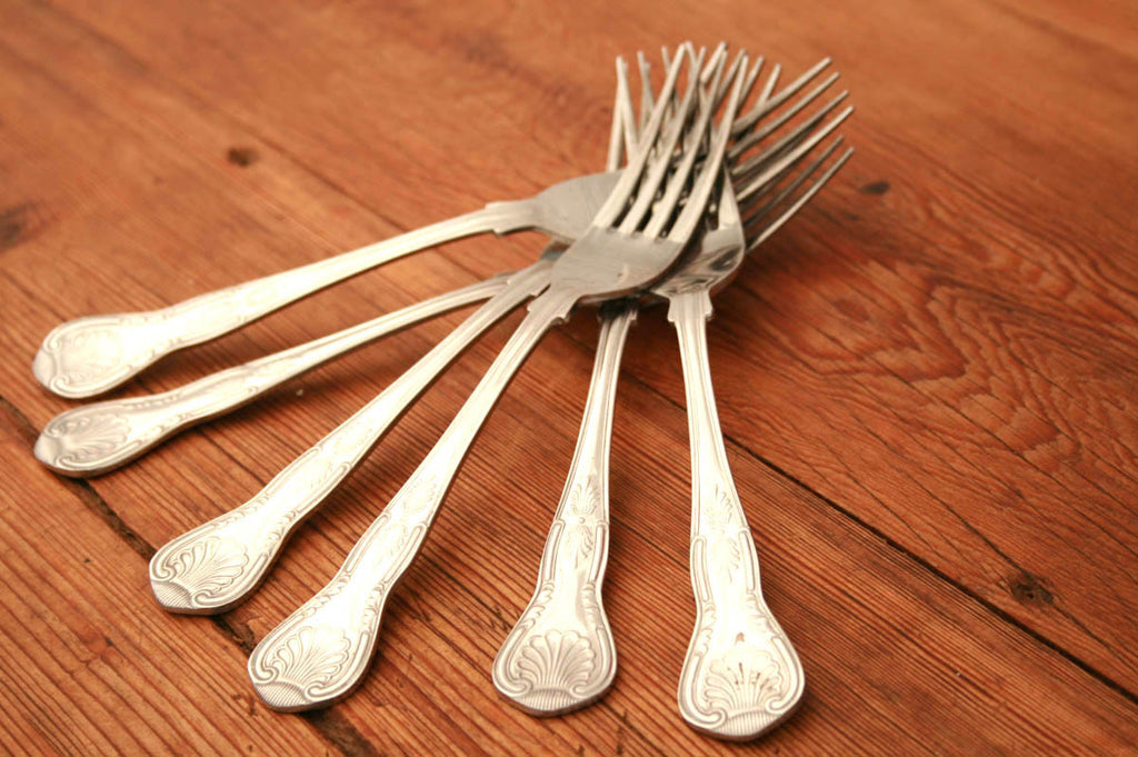 A set of six table forks