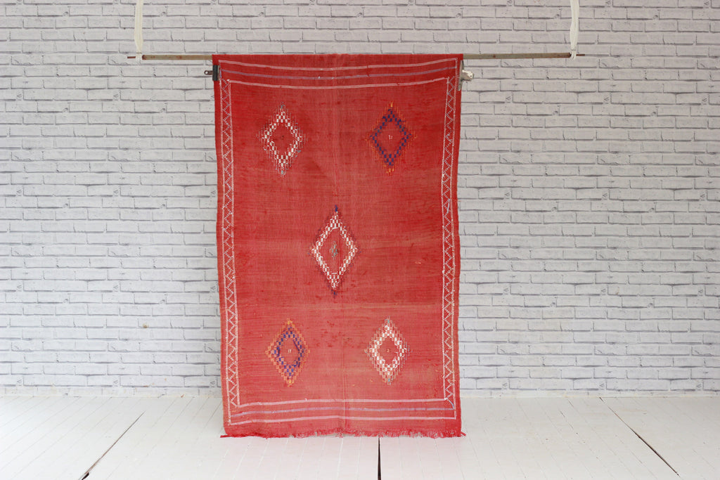 Vintage Moroccan Embroidered Kilim
