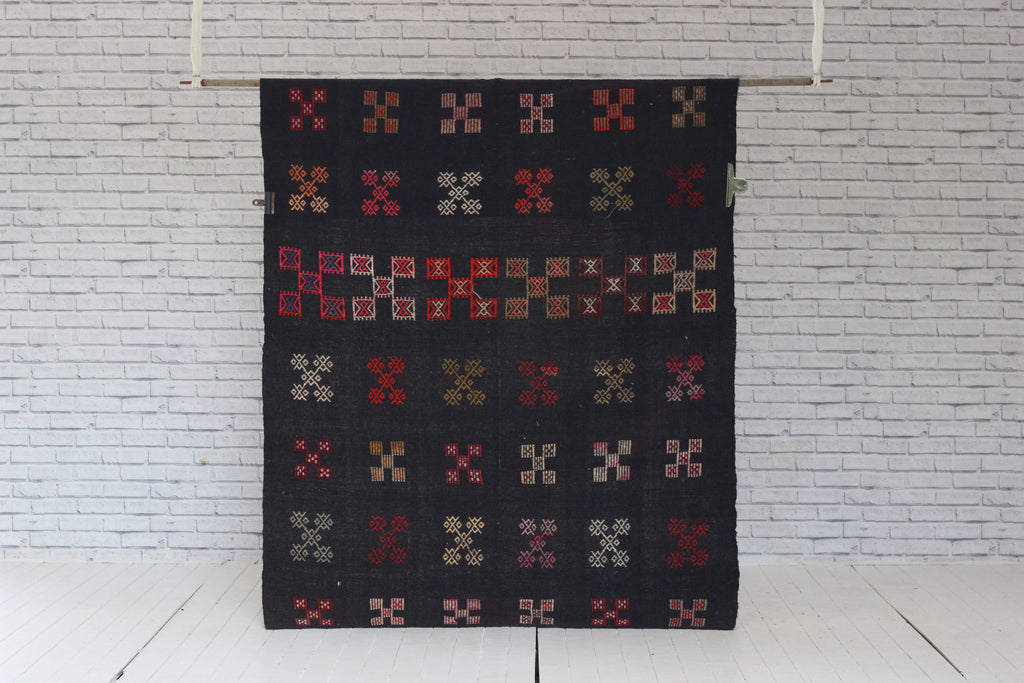 Vintage Embroidered Angora West Anatolian Kilim