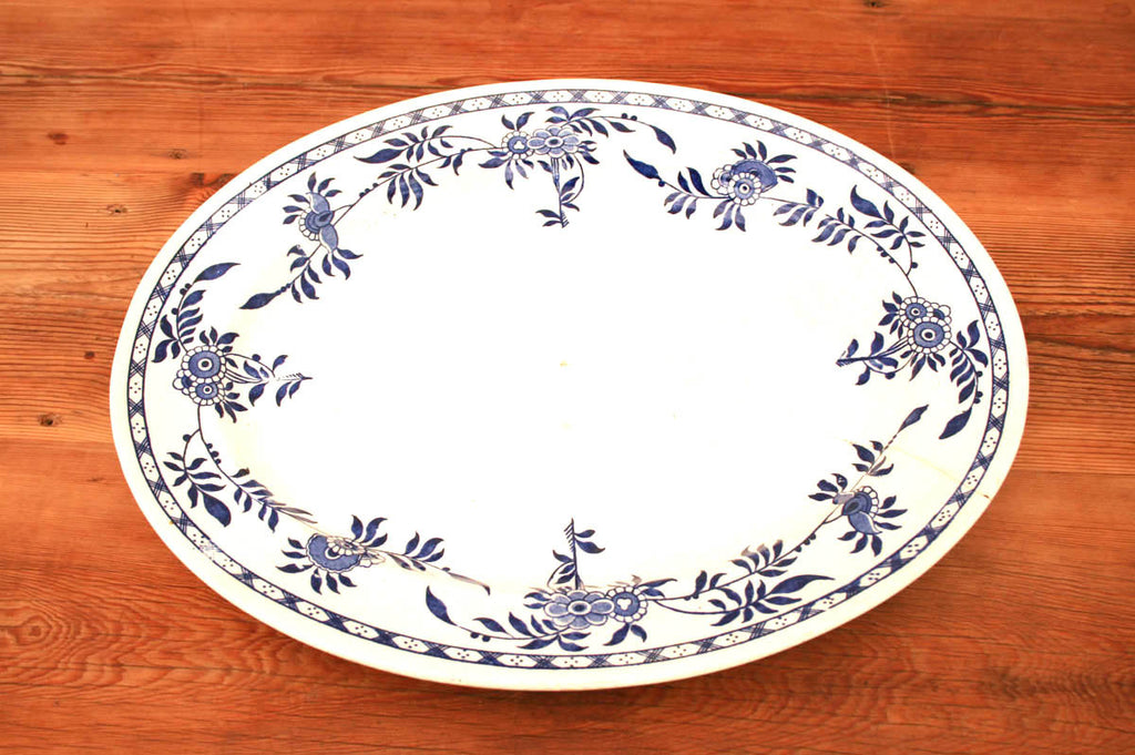 Floral blue and white platter