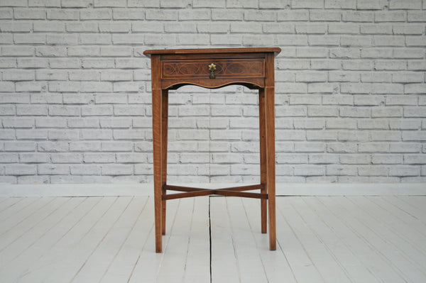 A charming inlaid occasional / side / bedside table with mirrored inset top