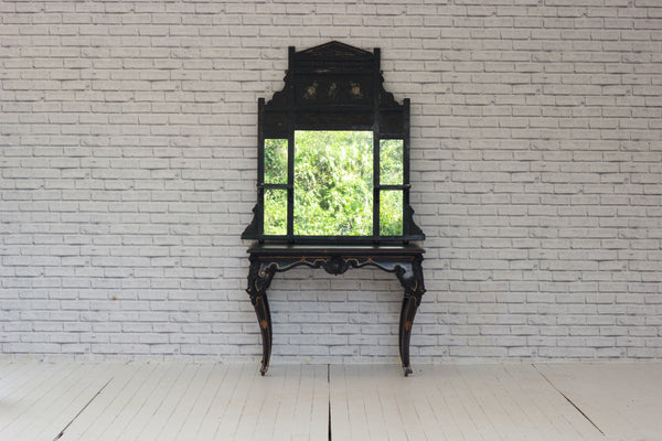 A Victorian ebonised overmantel mirror