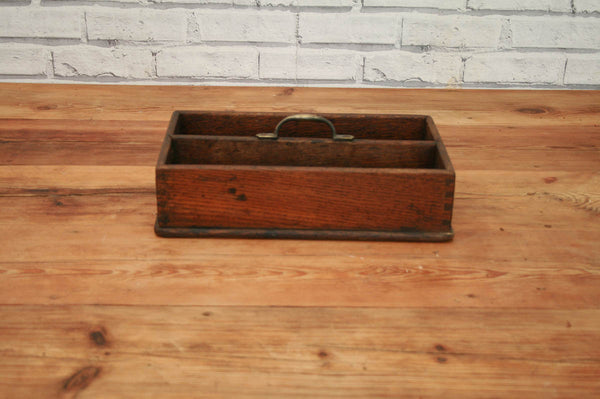 A 19th Century Oak twin section cutlery tray