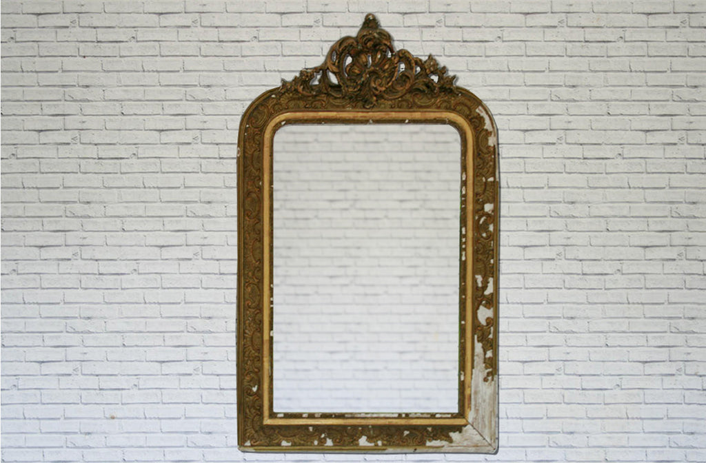 A stunning French gilt & gesso over mantle mirror