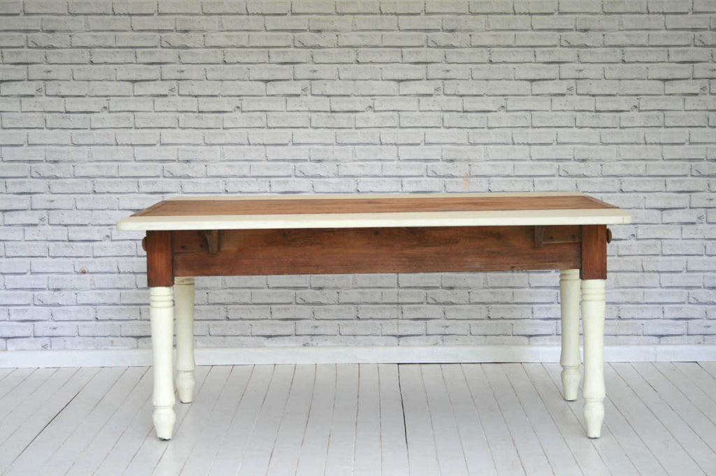 A 19th Century pine kitchen table with newly made extension leaves