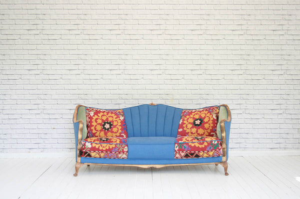 A 1930's Danish sofa re-upholstered in vinatge Turkish Suzani