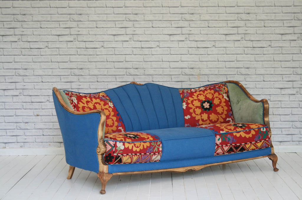 A 1930's Danish sofa re-upholstered in vintage Turkish Suzani