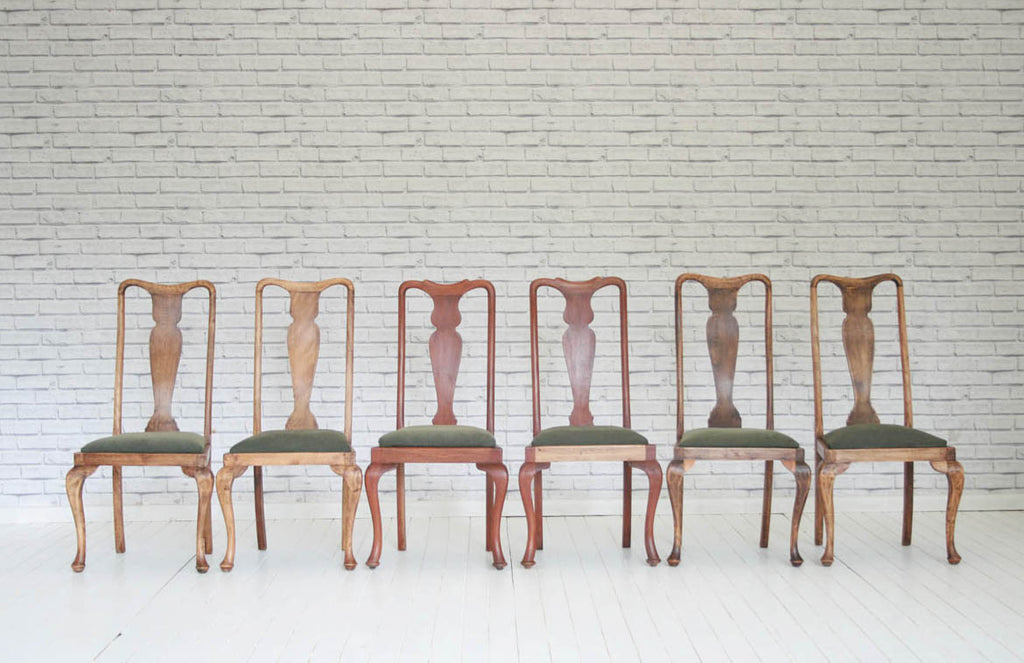 Six Queen Anne style dining chairs