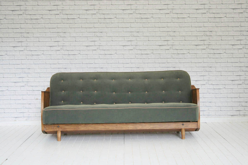 A fabulous 1930's fold down sofa bed re-loved in dark green-grey brushed cotton