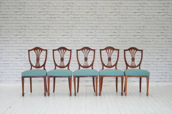 A set of five regency style dining chairs with duck-egg blue seats
