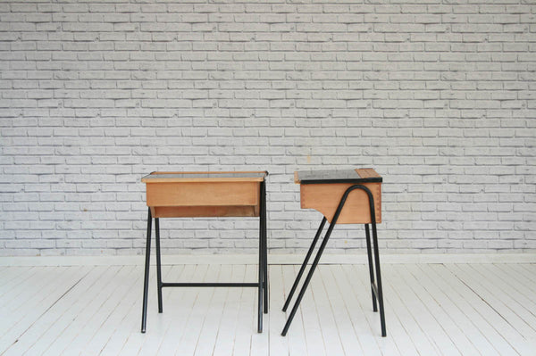 A pair of retro vintage oak and metal schools desks / bedside tables