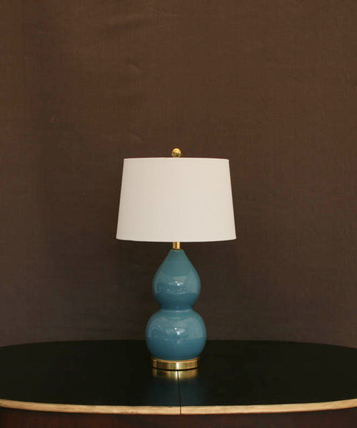 Blue Ceramic Lamp With Shade
