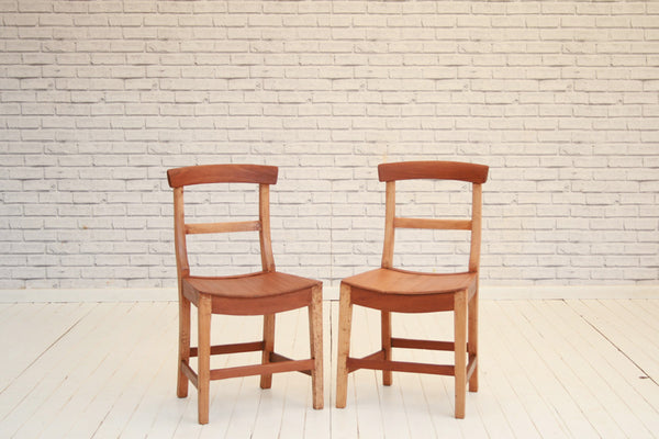 A pair of late 19th Century lath back kitchen chairs