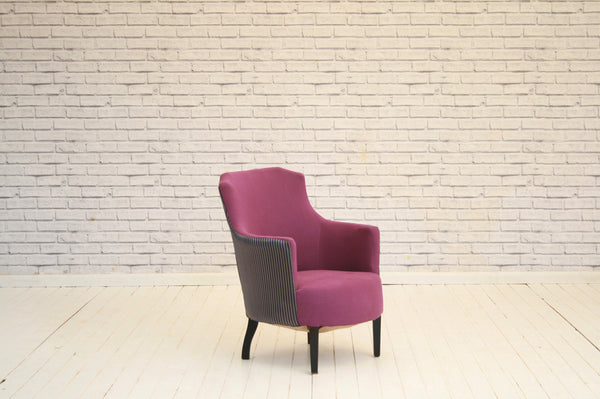 A gorgeous tub chair / armchair upholstered in purple cotton & Turkish striped silk