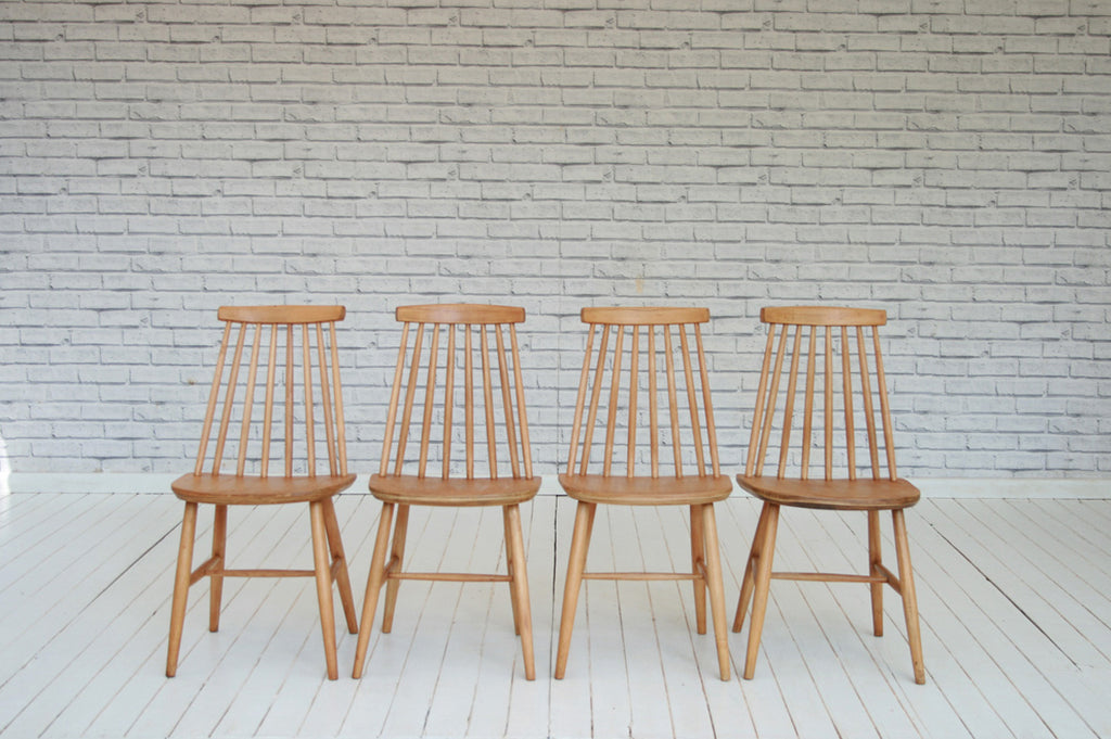 Four 1970's beech and ply dining chairs