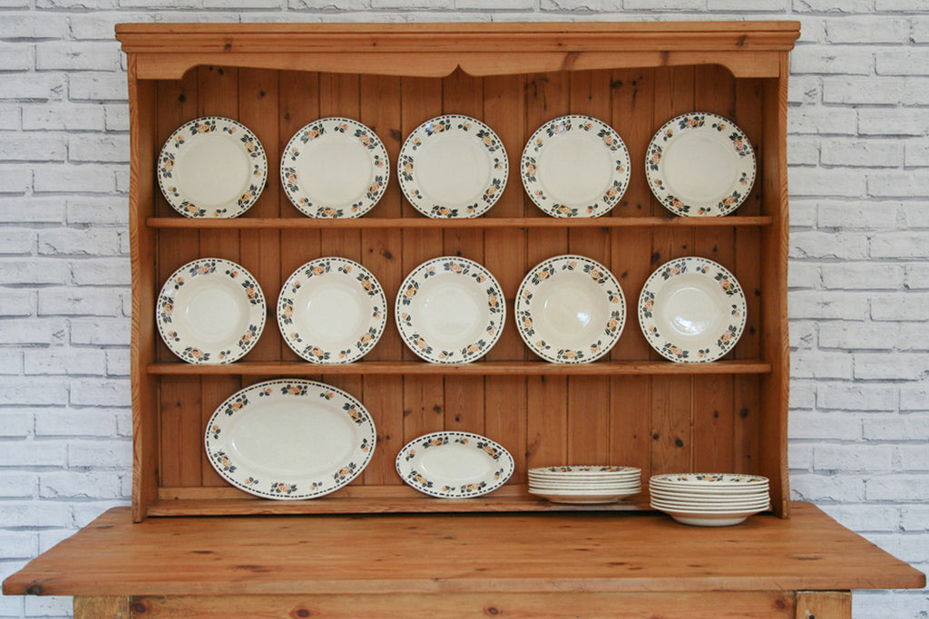 A set of Vintage Hand Stencilled Crockery