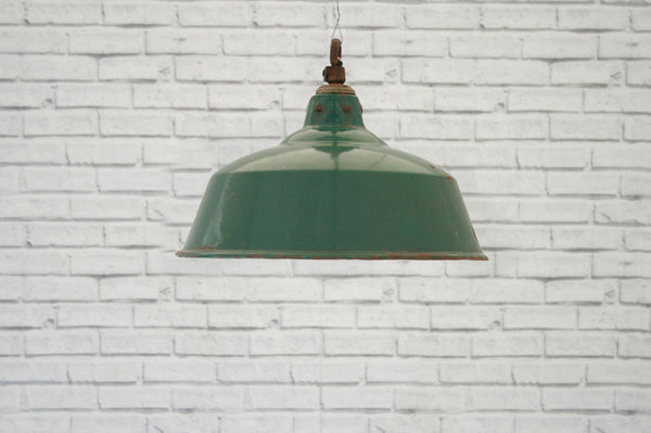 A Green Enamel Light Shade