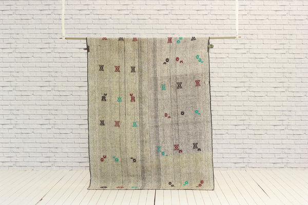 Vintage Embroidered Mohair Kilim
