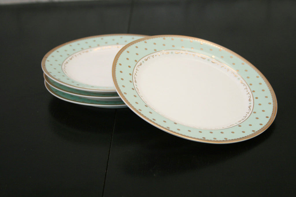 Set of 4 Gold Spot Mint Green Plates