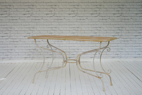 Metal framed table with fancy legs/Console
