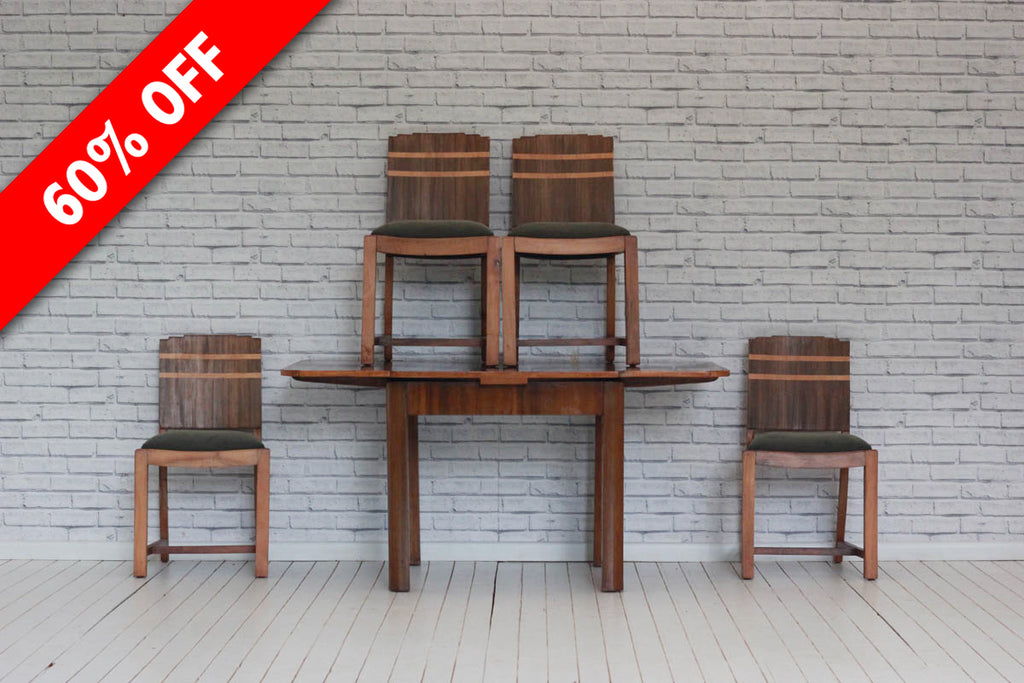 Art Deco walnut draw leaf dining table with a set of 4 chairs