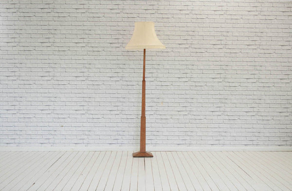 Vintage 1930's oak floor lamp, raised on square graduted column & plinth base/without shade